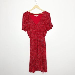 LOFT Red Abstract Fit & Flare Belted V-neck Dress
